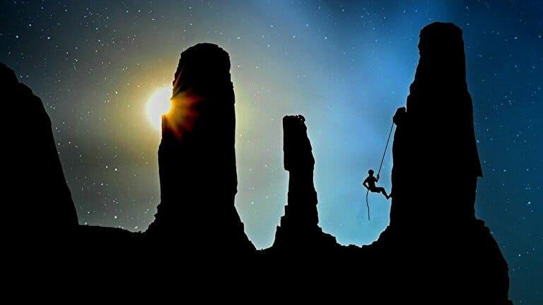 登山と朝日
