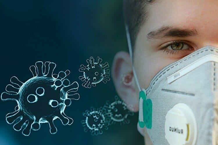ウイルス対策のマスクをする男の子